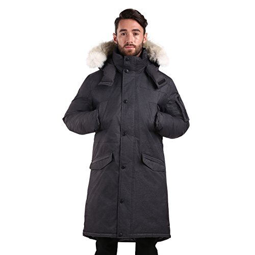 Triple F.A.T. Goose SAGA Collection | Eberly II Mens Hooded Goose Down Jacket Parka with Real Coyote Fur (2XL, Charcoal) by Triple F.A.T. Goose (Image #2)