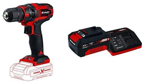 Einhell 4513927 Taladro a batería + Kit con cargador y batería de repuesto de 18 V, 4 Ah, 0 W, 21 V, 4.0, tiempo de carga: 60 minutos, color ...