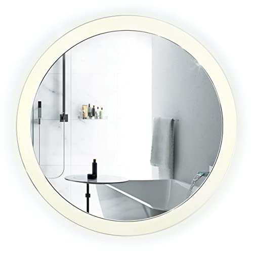 LED Bathroom Round Mirror 22 Inch Diameter | Lighted Vanity Mirror Dimmer & Defogger + Silver Backed Glass | | high-quality