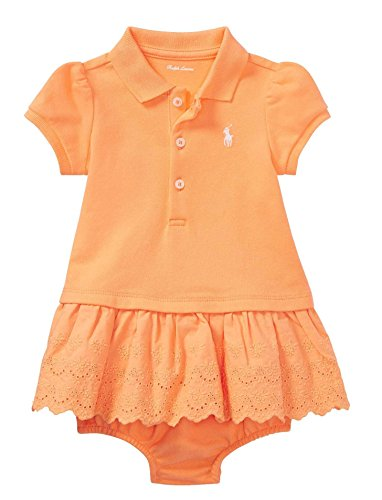 - RALPH LAUREN Baby Girls Eyelet Polo Dress & Bloomer (Fair Orange, 9 Months)