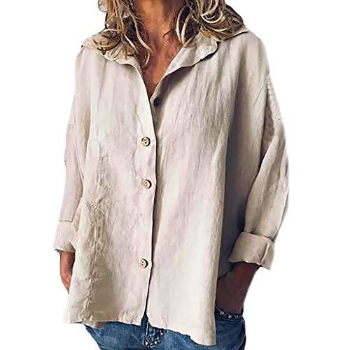 Women Button Tops Linen Cotton Fashion Long Sleeve Short T Shirt Ladies Blouse Khaki -
