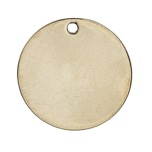 20 Gold Plated Copper Round Circle Stamping Blank Tags for Metal Stamping 15mm or 5/8 Inch - Metal Circles Round
