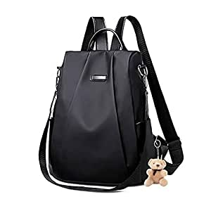 Women Backpack Purse 10L Small Anti-Theft Shoulder Bag, Everyday Waterproof Nylon Lightweight Handbag for Girls with Keychains (Black)