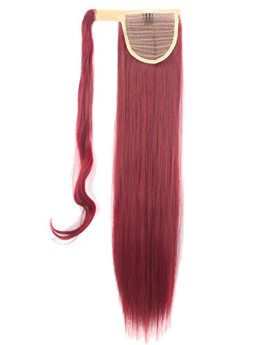 FUT Wrap Around Ponytail One Piece Clip in Curly Pony Tial Hair Extensions 18inch 90g Girl Lady Women Dark Red