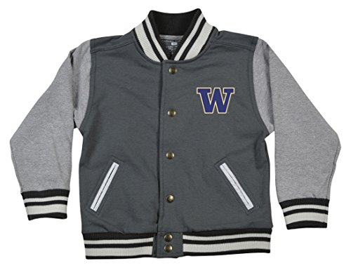 NCAA Washington Huskies Children Unisex Toddler Letterman Jacket, 4 Toddler, Pewter/Oxford (Washington Husky Mascot)