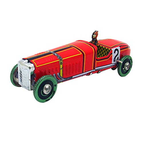 JunLai888 Clockwork Chain Metal Toys Retro Wind Up Racing Car Model Toys Collectible Gift Nostalgic Retro Decoration (Red) from JunLai888