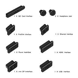 """Anti Dust Plug for Macbook Pro, FORITO Silicone Port Plugs Set for Macbook Pro 13"""" / Pro 15"""" (Not for Retina), 9-Pieces (Black)"""