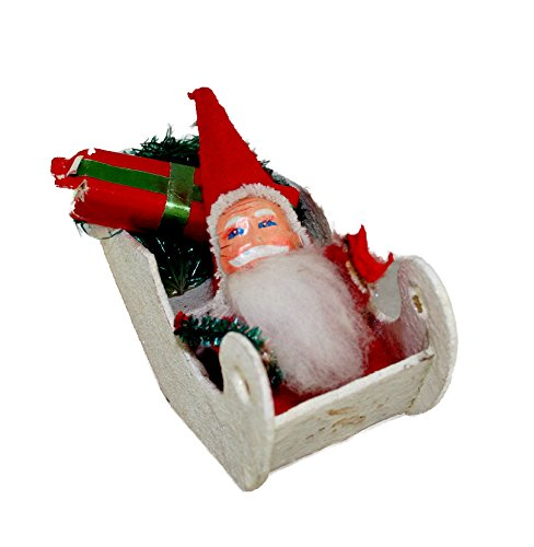 - Made in Japan Chenille Celluloid Face Santa In Composition Sled 3 Inches