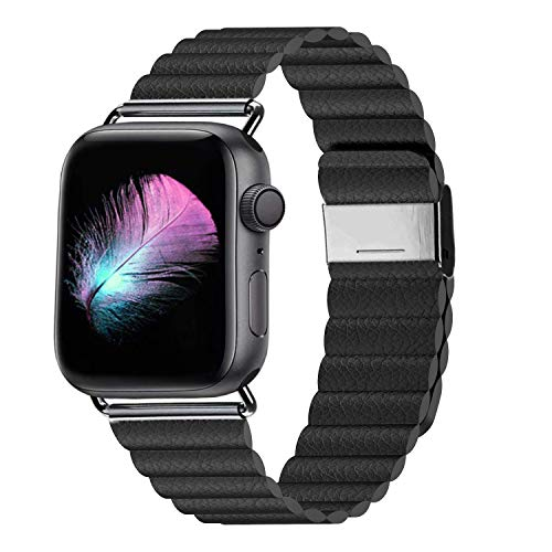 LKEITY Compatible for Apple Watch Band 44mm 42mm Color Black - Upgrade Adjustable Leather Strap with Strong Magnetic for iWatch Series 4/3/2/1