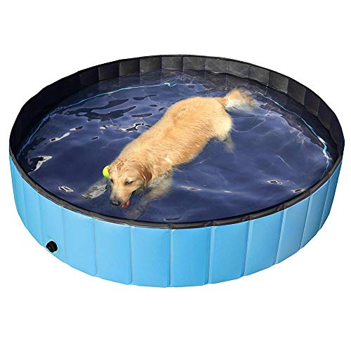 Yaheetech Foldable Pet Bath Pool Collapsible Large Dog Pet Pool Bathing Swimming Tub Kiddie Pool for Dogs Cats and Kids(63inch.D x 12inch. H, Blue) -