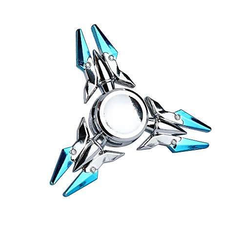Wensltd Aluminium Alloy Tri-Spinner Fidgets Toy Stress Reducer Relieve Anxiety and Boredom (Blue&Silver) - Pressure Molding