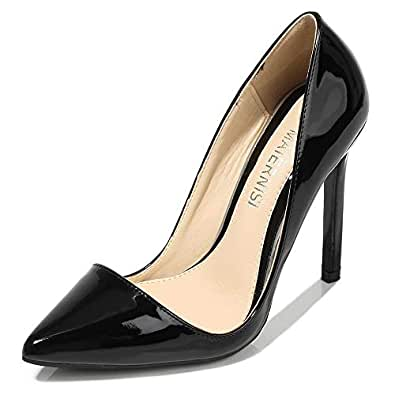 LUKEEXIN Super High Heeled Pointed High Heel Stiletto Sexy Slim High Heels (Color : Black, Size : 36)
