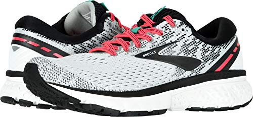 Brooks Women's Ghost 11 White/Pink/Black 10 B US ()