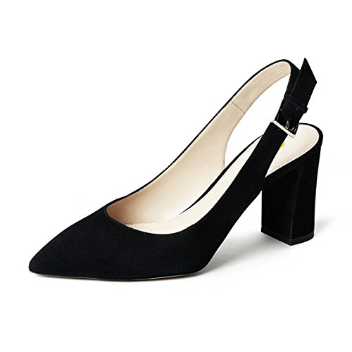 Shoes Chunky Toe Daily Black 15 Detailed Women Size Slingback Pointed FSJ US Pumps Heels 4 Trendy Walking WPqwUzUfA