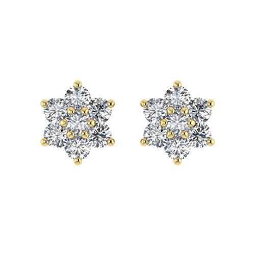 Delight femmes de diamant 14K Boucles d'oreille Clous en forme de fleur (I1-I2, 1/3carat)