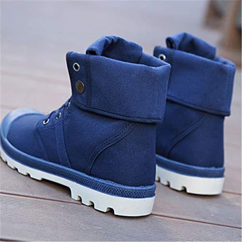 Alto Uomini di Caviglia Blu Sneakers Tela alla Inverno Autunno Stivali Moda Stivali Confortevoli WaSWnpwqY