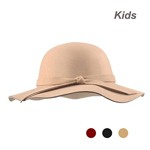 Kratarc Kids Fedora Hat Girls Floppy Wide Brim Hat Sun Wool Bow Cap Winter (Khaki)