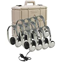 Califone 3060AVS-12 Classroom Twelve-Pack Multimedia Stereo Headphones, Permanently Attached Cord Resists Accidental Pull Out, 3.5mm Plug With an 8 Feet Straight Cord, Replaceable Ear Cushions