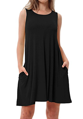 Cotton Sleeveless Cover Up - RJXDLT Women's Casual Swing T-Shirt Dresses with Pockets Summer Loose Sundresses Black XL