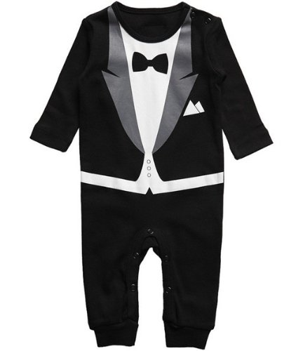 Baby Tuxedo Gentleman Romper Jumpsuit Great for a Party Wedding or Xmas (70cm, Black)