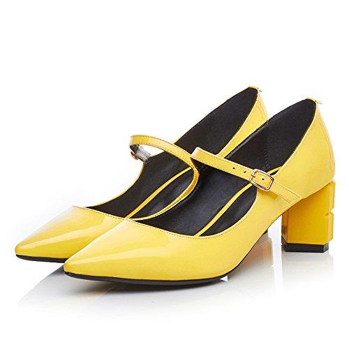 Minivog Chunky Block Heel Mary-jane Zapatos De Mujer De Cuero Zapatos Amarillo