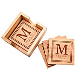 Personalized 4 Coasters Set with Holder Drink Coaster for Beer Cocktail Coffee Tea 4x4 Bamboo Wood Monogram Coaster Kit Customizable with Name Date Personalized Gifts Women Men Wedding Favors #10