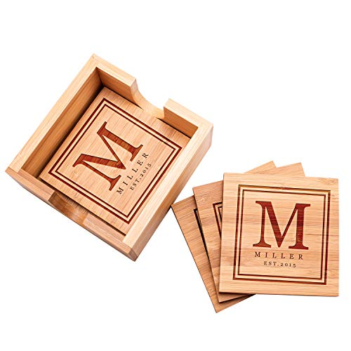 - Personalized 4 Coasters Set with Holder Drink Coaster for Beer Cocktail Coffee Tea 4x4 Bamboo Wood Monogram Coaster Kit Customizable with Name Date Personalized Gifts Women Men Wedding Favors #10