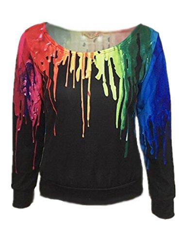 Kerlana Rond Pull Manches Tops Color Casual Blouse Femme Mode Col Tunique Longues Elastique Black Shirt Classique Basique rFr8wxq7