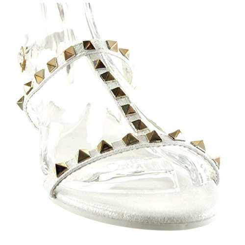 Angkorly Damen Schuhe Sandalen - T-Spange - Nieten - Besetzt - Schleife - Golden Flache Ferse 1 cm Weiß