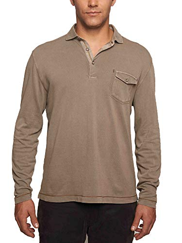 TADD by Thaddeus Mens Eddie Long Sleeve Chest Pocket Pique Polo Shirt Walnut Brown Large (Zipper Long Sleeve Double)