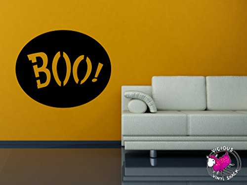 Boo Sign Spooky Halloween Decoration (BLACK) Vinyl 30 inch Wall Decal Sticker Home Decor Stickers Car Jack O Lantern Pumpkin Costume Trick or Treat Haunted House Removable Witch Black Cat
