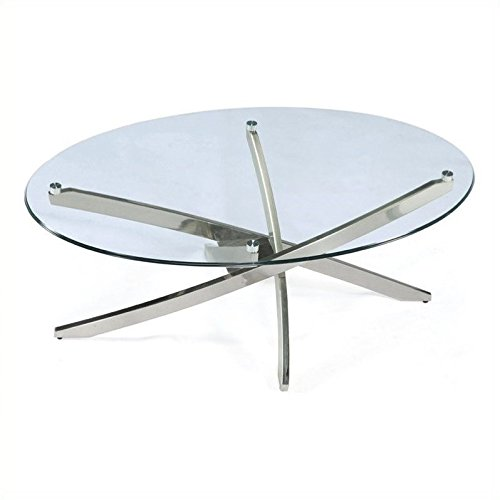 Magnussen Zila Oval Cocktail Table in Brushed Nickel ()
