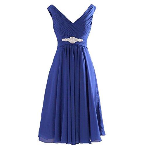 [Lemai Chiffon V Neck Short Knee Length A Line Beaded Corset Prom Bridesmaid Dresses Royal Blue US 6] (Blue Sequin Corset)