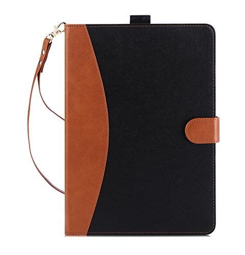 Fashion Design Sd Card (iPad 9.7 Case 2017 - FYY Premium PU Leather Case Stand Cover with Card Slots, Note Holder, Hand Strap for iPad 2017 9.7 inch Black&Brown(With Auto Wake/Sleep Feature))