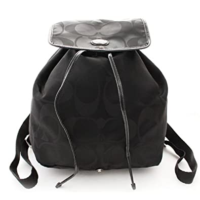 685c10e56e Image Unavailable. Image not available for. Color  Coach Signature Nylon  Backpack Handbag Purse Black