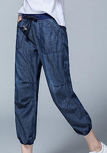 Fonc Cordon Lanterne Taille ZhuiKunA Bleu Femmes 1 Jeans Pantalon Denim lastique Lache g74Swqv