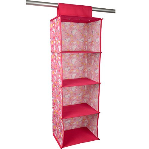 ... Hello Kitty Closet Rod Hanging Shelf Organizer - Four Shelf Hanging  Closet Organizer - Closet Storage