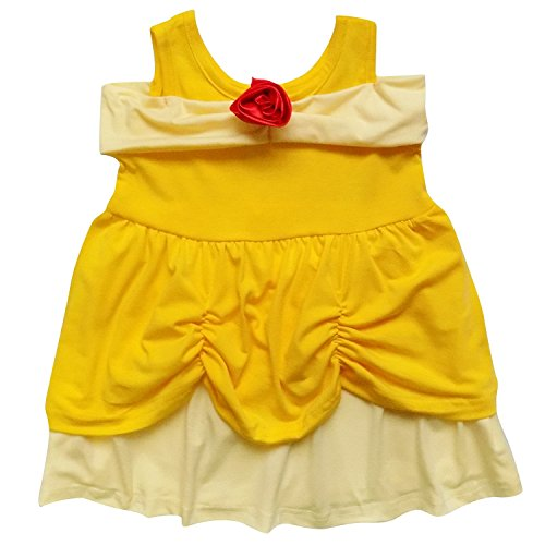 So Sydney Toddler Girl Soft & Comfy Minnie Dress & Ears Headband Costume Outfit (M (4T), Belle Yellow (M&m Toddler Costume)