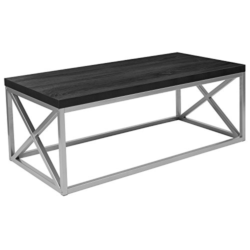 black and silver coffee table - 1