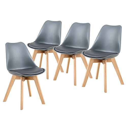 NOBPEINT Eames-Style Mid Century Dining Chairs,Set of 4(Gray)