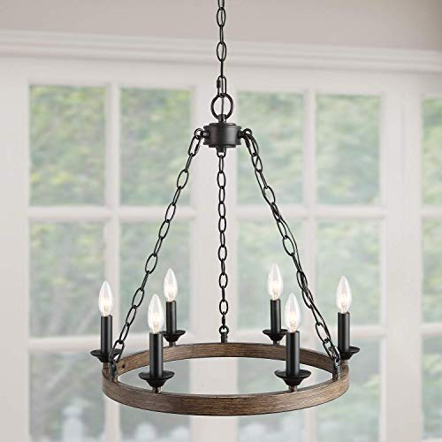 Log Barn 6 Lights Wagon Wheel Chandelier, Farmhouse Lightening in Metallic Faux Wood Finish, 20 Small Pendant Lighting for Kitchen Island, A03399