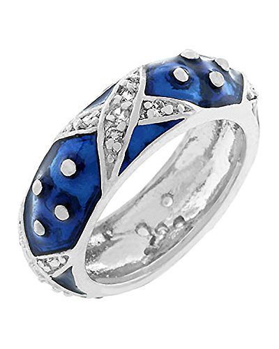 Dot Enamel Band - Eternity Ring with Navy Blue Enamel Overlay and Handset Clear CZ X's and Polk-a-dots Size 10