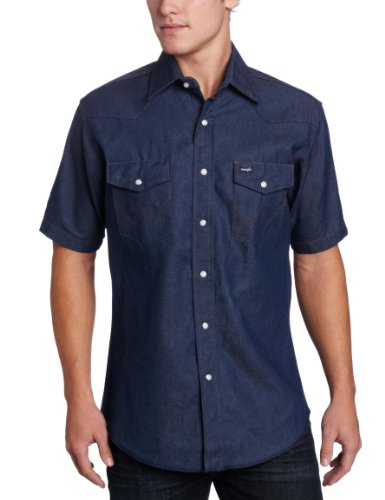 - Wrangler Men's Authentic Cowboy Cut Work Western Shirt, Blue, X-Large