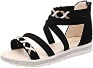 Women Pump Sandal Open Toe Ankle Strap Criss Cross Zipper Summer Cut Out Shoes