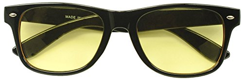 Sunglass Stop - HD Night Vision Driving 80s Yellow Lens Wayfarer Style Sunglasses