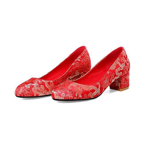 Fait Femmes Haut Mariage d'épaisseur Sandales Chaussures 5cm Red4 Talon xIzwqTFUH