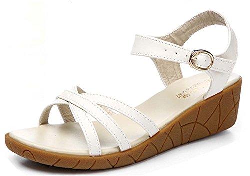 (ホーマイ)HOOMAI サンダル ぺたんこ レディース 歩きやすい 厚底 ヒール4cm ウェッジソール 大きいサイズ 22.5-26cm 婦人靴 アンクルストラップ