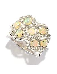 Pinctore Sterling Silver Ethiopian Opal & White Zircon Lattice Ring
