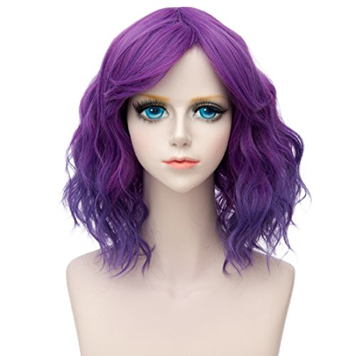 Purple Lolita Wig Costumes (Probeauty Lolita 40CM Short Curly Fashion Women Mixed Brown Anime Cosplay Wig + Wig Cap (Purple Ombre)