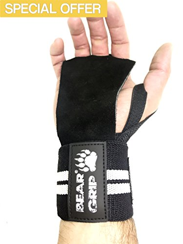 BEAR GRIP - CROSSFIT 2 in 1 Leather palm gloves protector wrist support...
